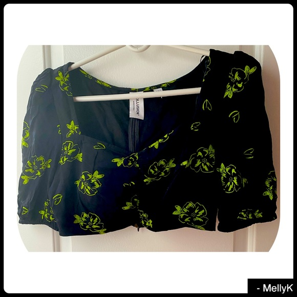 ASOS  Flowered green and black crop top